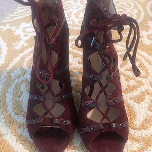 Peep Toe Tie-Up Burgundy Suede Shoe